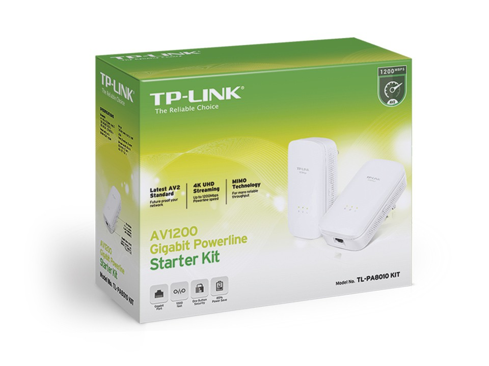 Адаптер Powerline TP-Link TL-PA8010KIT (1200Mbit/s, GLAN)