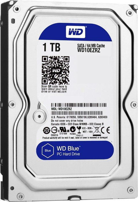 Жесткий диск 1Tb Western Digital WD10EZRZ Blue (SATA 6Gb/s, 5400 rpm, 64Mb)