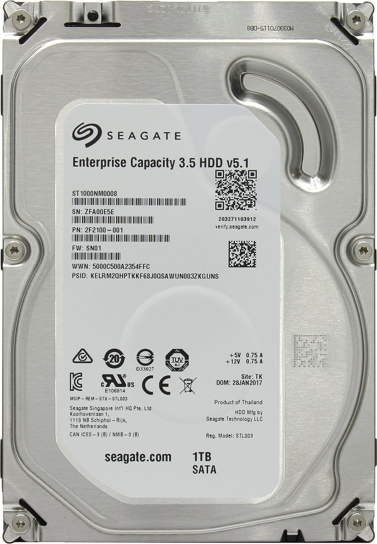 Жесткий диск 1Tb Seagate Enterprise Capacity (ST1000NM0008) (SATA-6Gb/s, 7200prm, 128Mb)