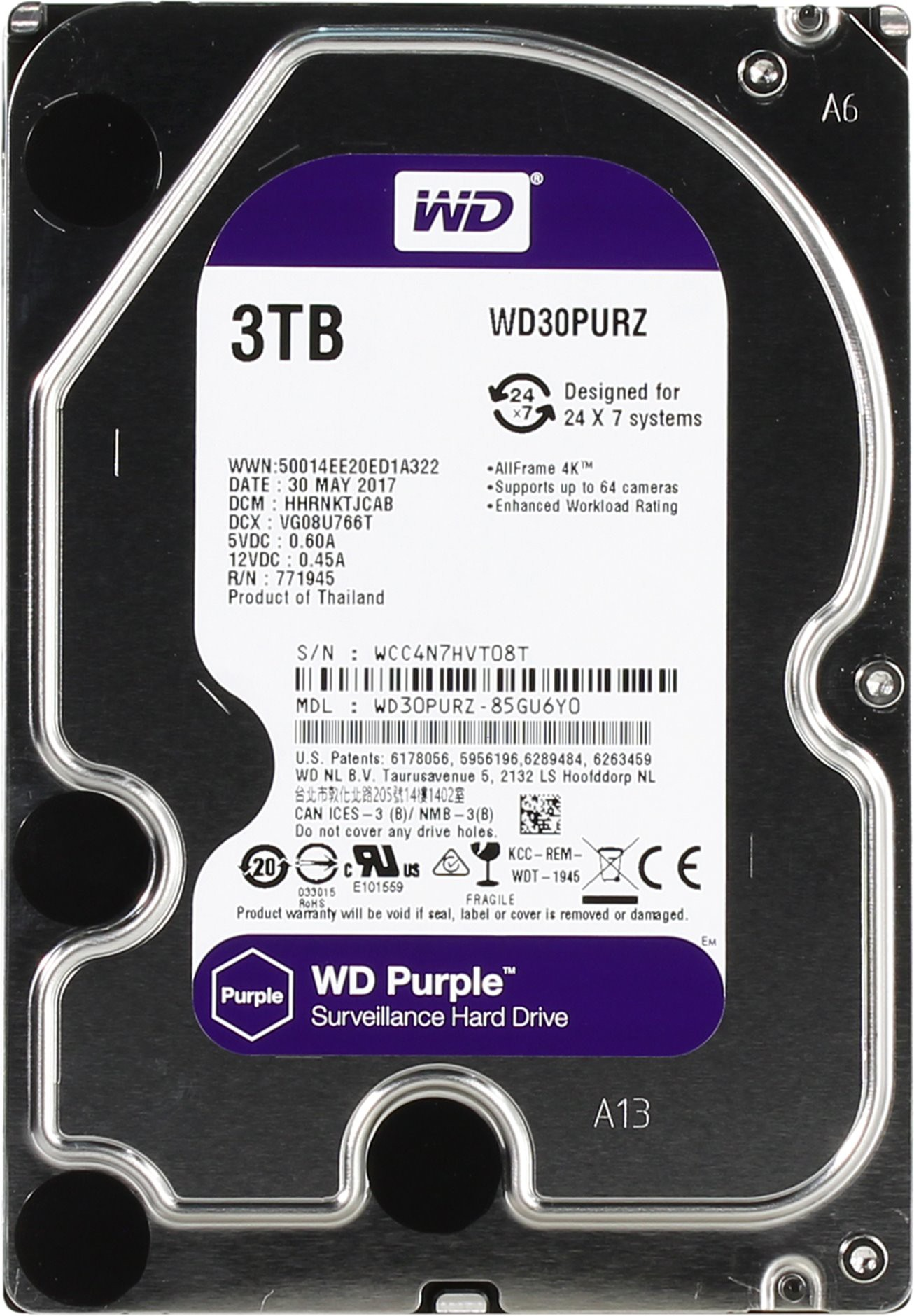 Жесткий диск 3Tb Western Digital WD30PURZ Purple (SATA 6Gb/s, 5400rpm, 64Мb)