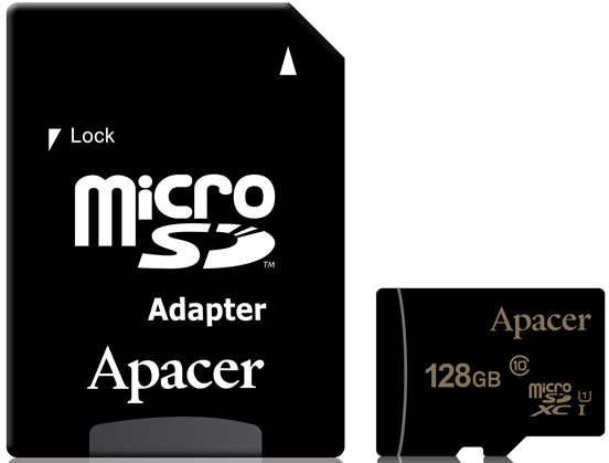 Карта памяти 128Gb Apacer microSDXC 128Gb (AP128GMCSX10U1-R) Class 10 UHS-I + SD Adapter