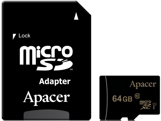 Карта памяти 64Gb Apacer microSDXC 64Gb (AP64GMCSX10U1-R) Class 10 UHS-I + SD Adapter