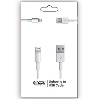 Кабель GINZZU GC-501W Lightning / USB, 1m, белый