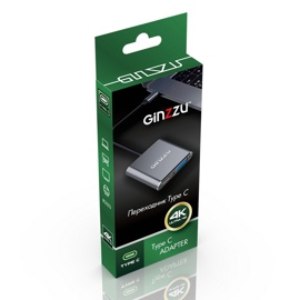 Переходник GINZZU GC-878HVC (Type-C -> HDMI/RJ45(GLan)/Audio/Type-C (PD))