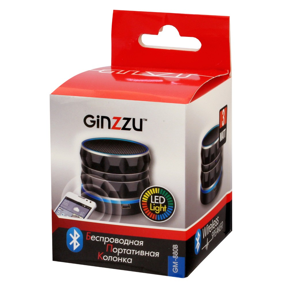 Колонки GINZZU GM-880B Black (3W/TFcard/USB/AUX/FM/LED light)