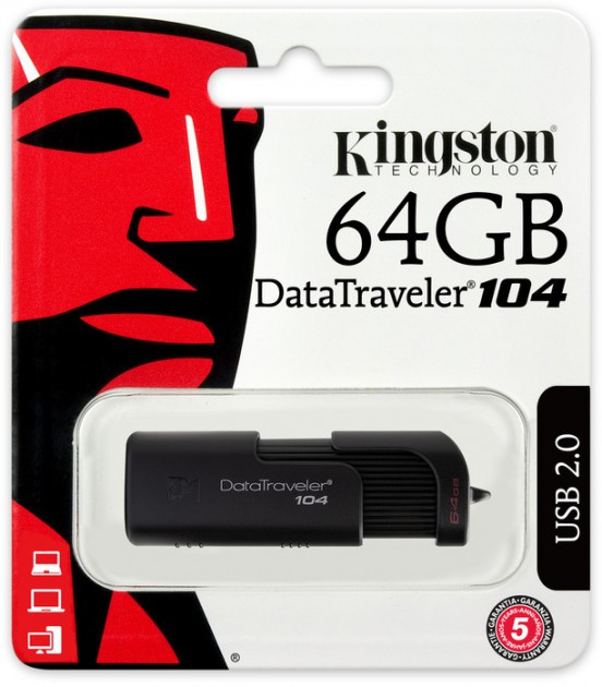 USB flash disk 64Gb Kingston DataTraveler 104 64Gb (DT104/64GB) Black (выдвижной разьем, пластик)