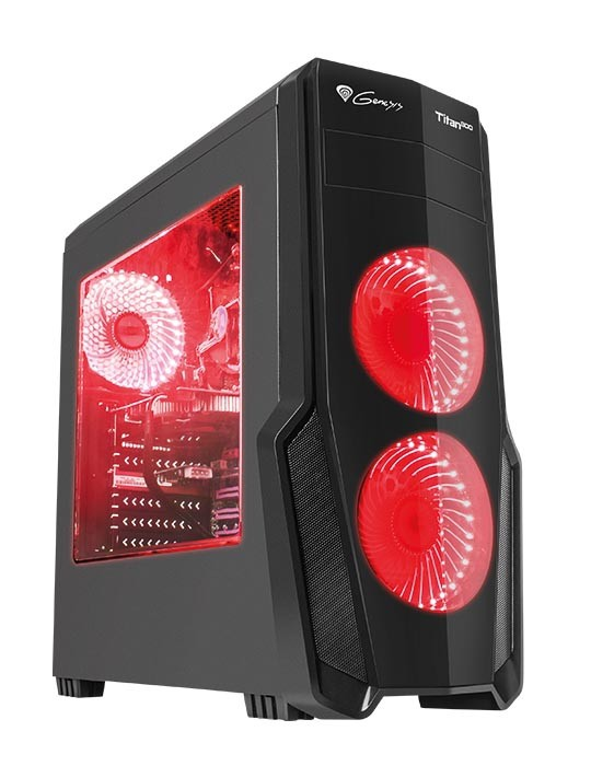 Корпус Genesis TITAN 800 (NPC-1128) Black (Miditower, ATX, USB3/0/USB2.0, 4xFan Red Led, w/o PSU, Window)
