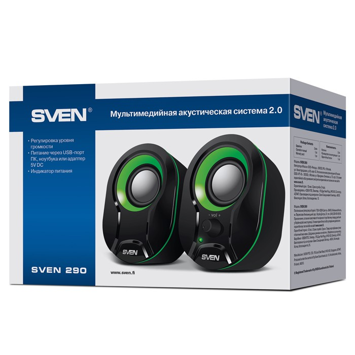 Колонки Sven 290 Black-green (USB, 2.0, 2x2.5W)