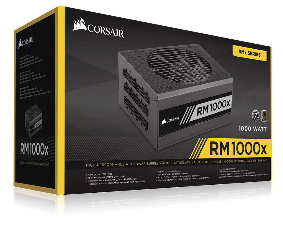 Блок питания 1000W Corsair RM1000x (CP-9020094-EU) (135mm, 24+8+8pin, 8x6/8-pin, 11xMolex, 12xSATA, 80+ Gold)