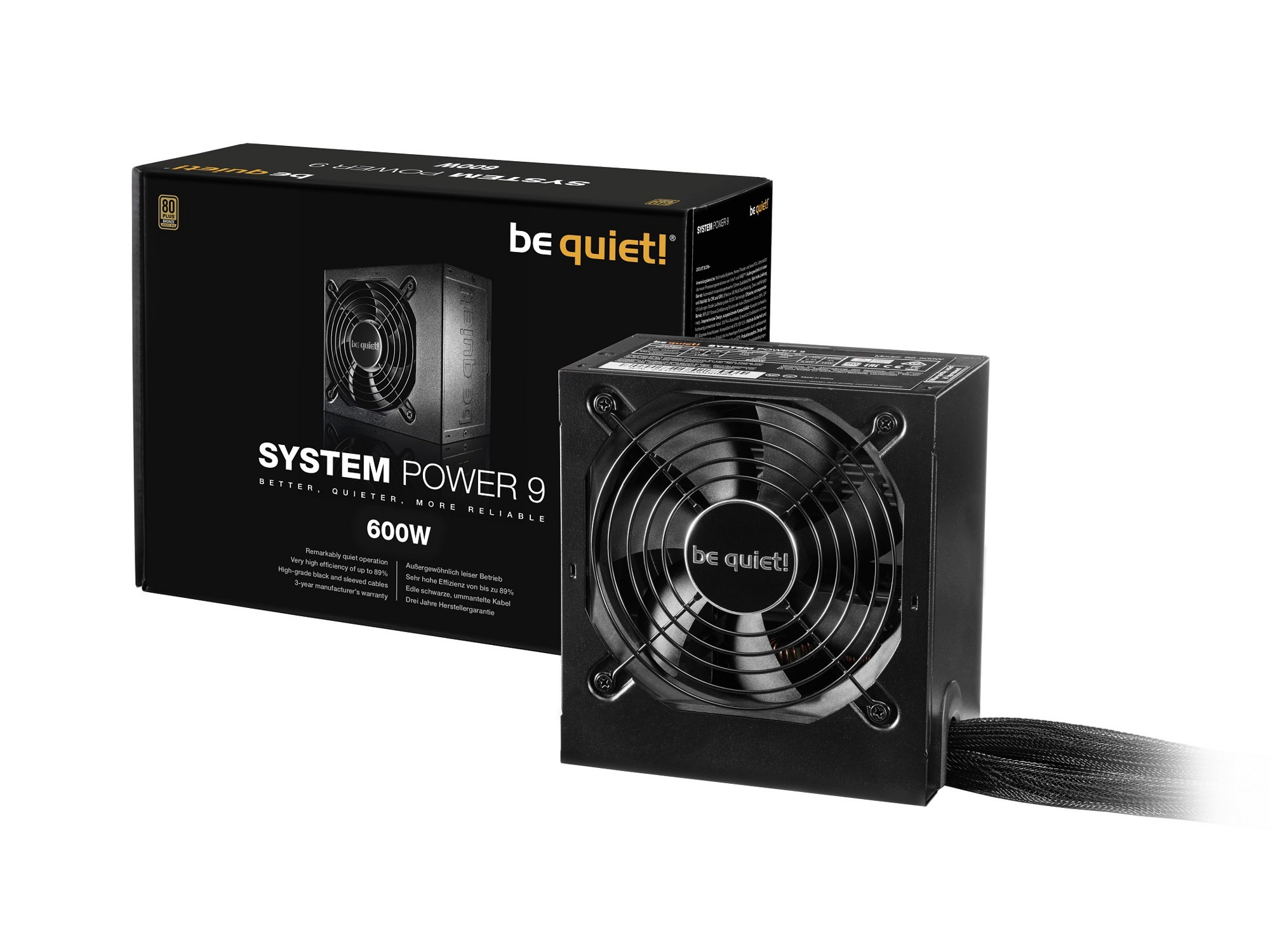 Блок питания 600W be quiet! System Power 9 600W (BN247)  (24+8pin, 2x6/8pin, 2xMolex, 6xSATA, 80+ Bronze)