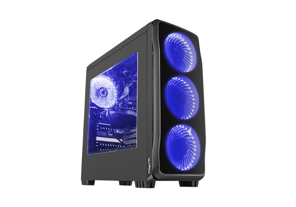 Корпус Genesis TITAN 750 (NPC-1126) Black (Miditower, ATX, USB3/0/USB2.0, 4xFan Blue Led, w/o PSU, Window)