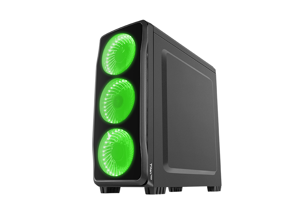 Корпус Genesis TITAN 750 (NPC-1127) Black (Miditower, ATX, USB3/0/USB2.0, 4xFan Green Led, w/o PSU, Window)