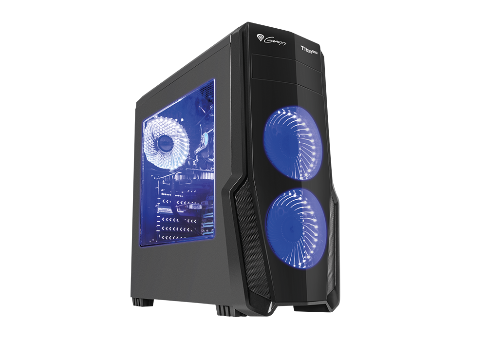 Корпус Genesis TITAN 800 (NPC-1129) Black (Miditower, ATX, USB3/0/USB2.0, 4xFan Blue Led, w/o PSU, Window)
