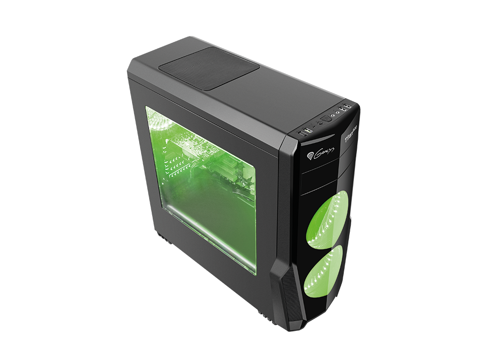 Корпус Genesis TITAN 800 (NPC-1130) Black (Miditower, ATX, USB3/0/USB2.0, 4xFan Green Led, w/o PSU, Window)