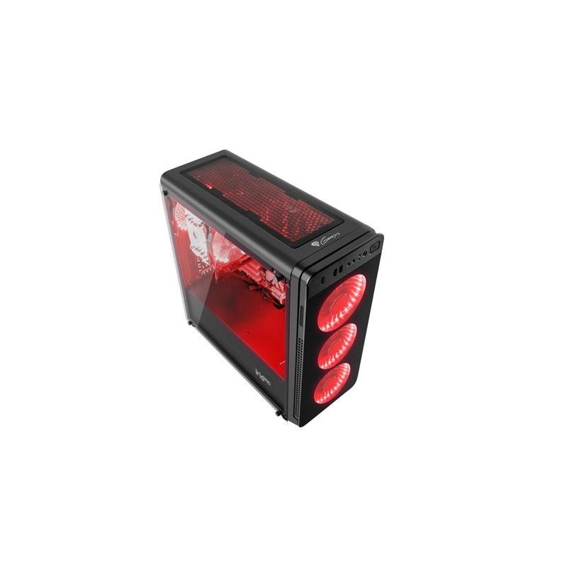 Корпус Genesis IRID 300 (NPC-1131) Black (Miditower, ATX, USB3, 4xFan, w/o PSU, Window, Red LED)
